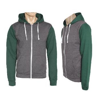 Kapuzenzipjacke/Zip Hooded  (charcoal/green)