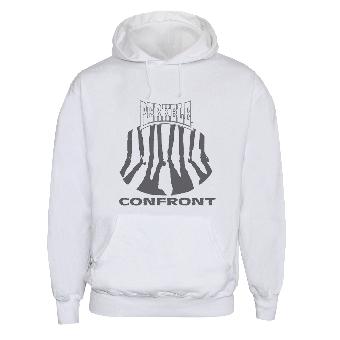 "Perkele ""Confront"" Camiseta con capucha (blanco)"