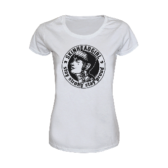 """Skinheadgirl """"Stay strong stay proud"""" Girly Shirt (white)"""
