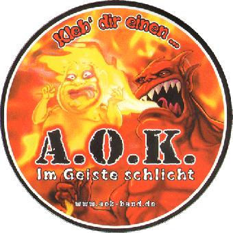 """A.O.K. """"Im Geiste schlicht"""" Aufkleber / sticker"""