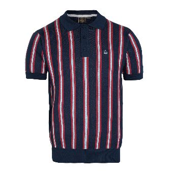 "Merc ""Jobling"" Stripe Knit Polo (navy)"