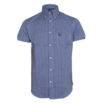 "Trojan ""Logo"" Button Down Shirt (short) (blue)"
