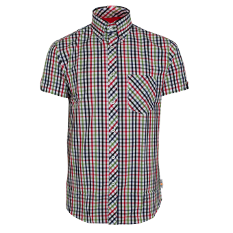 "Trojan ""Check"" Button Down Shirt (short) (green)"