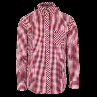 """Trojan """"Gingham Check"""" Shirt (long) (red)"""