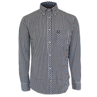 "Trojan ""Gingham Check"" Shirt (long) (black)"
