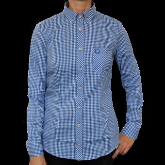 """Trojan """"Gingham Check Stretch"""" Girly Shirt (long) (blue)"""