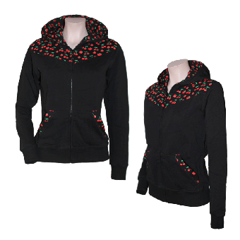 "Girly Kapuzenjacke ""cherry"" (schwarz)"