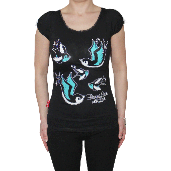 """Flaming Star """"Star with Love"""" Girly Shirt (black)"""
