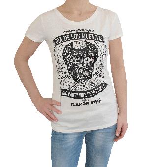 "Flaming Star ""Dia de los Muertos"" Girly Shirt (ecru)"