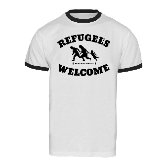 "Refugees welcome ""Bring your families"" Ringer Shirt (white)"