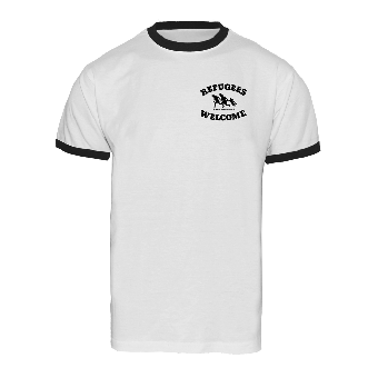 "Refugees welcome ""Bring your families"" (pocket print) Ringer Shirt (white)"