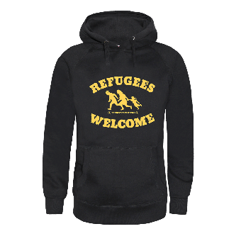"Refugees welcome ""Bring your families"" girly hoody"