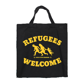 "Refugees welcome ""Bring your families"" Baumwoll Stoffbeutel (kurz)"