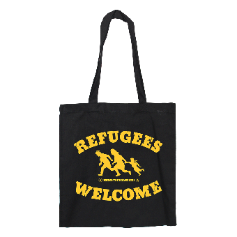 "Refugees welcome ""Bring your families"" Cotton Shoppingbag (long)"