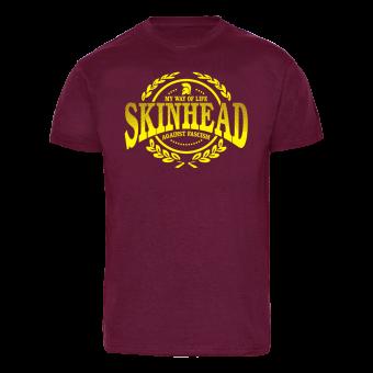 """Skinhead """"Against Fascism"""" T-Shirt (bordeaux)"""