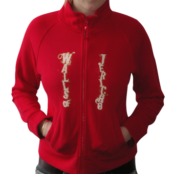 "Walls of Jericho ""We`re all Fucked"" Girly Sweat Jacket (red)"