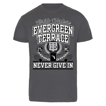 """Evergreen Terrace """"Never Give in"""" T-Shirt (charcoal)"""