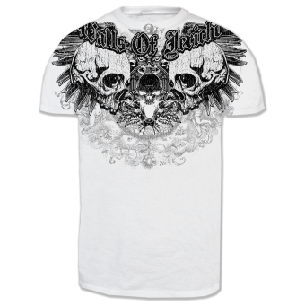 "Walls of Jericho ""Allover Skulls"" T-Shirt (white)"