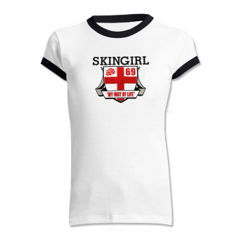 "Skingirl ""English Rose"" Girly Ringer-Shirt (white/black)"