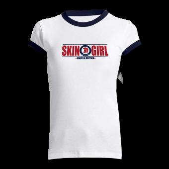 """Skin Girl """"Made in Britain"""" Ringer-Shirt (white/navy)"""
