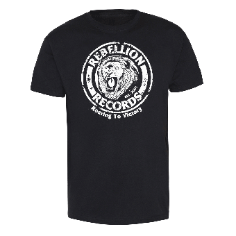 """Rebellion Records """"Roaring to victory"""" T-Shirt"""