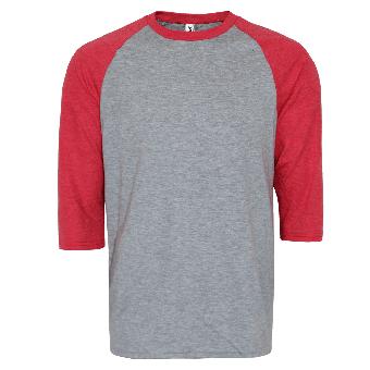 Anvil 3/4 Sleeve Raglan Shirt (grey/red)