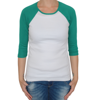 Bella 3/4 Sleeve Raglan Girly (white/green)