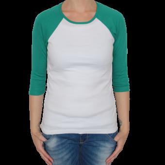 Bella 3/4 Sleeve Raglan Girly (white/green)