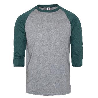 Anvil 3/4 Arm Raglan Shirt (grau/grün)