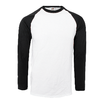Fruit of the Loom Baseball Longsleeves (white/black)