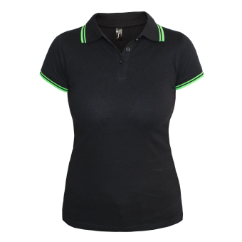 "Sols ""Pasadena"" Girly Contrast Polo (black/green)"