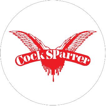 """Cock Sparrer """"Logo"""" weiß - Button (2,5 cm) 32"""