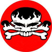 Skull (rot/weiss) - Button (2,5 cm) 603