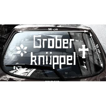 """Grober Knüppel """"Schriftzug"""" Heckscheibenaufkleber (innen / inside)"""