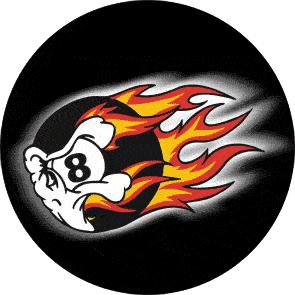 Burning 8 Ball- Button (2,5 cm) B 95 (Neu)