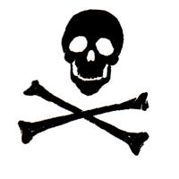 Skull with Bones (weiss/schwarz) - Button (2,5 cm) 384