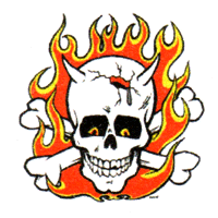 Skull With Flames - Button (2,5 cm) 612