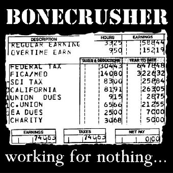 "Bonecrusher ""Working for nothing"" LP (lim. 400, white)"
