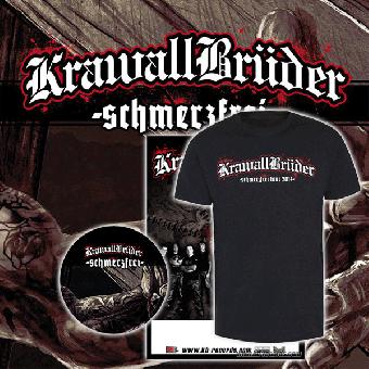 """KrawallBrüder """"schmerzfrei"""" Bundle (Tour Shirt, Button)"""