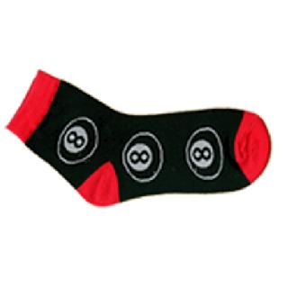 """Socke (kurz) """"8 Ball""""  (black/red)"""