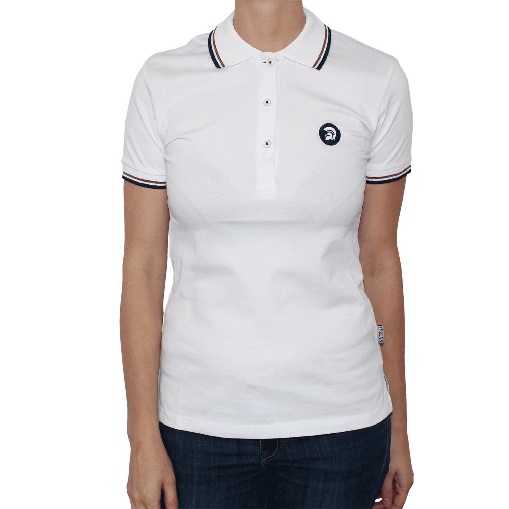 Trojan logo girl polo white order online spirit of for Polo shirt girl addiction