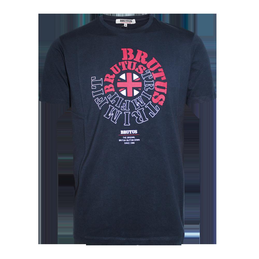 Brutus trimfit logo t shirt navy order online for Order shirts with logo