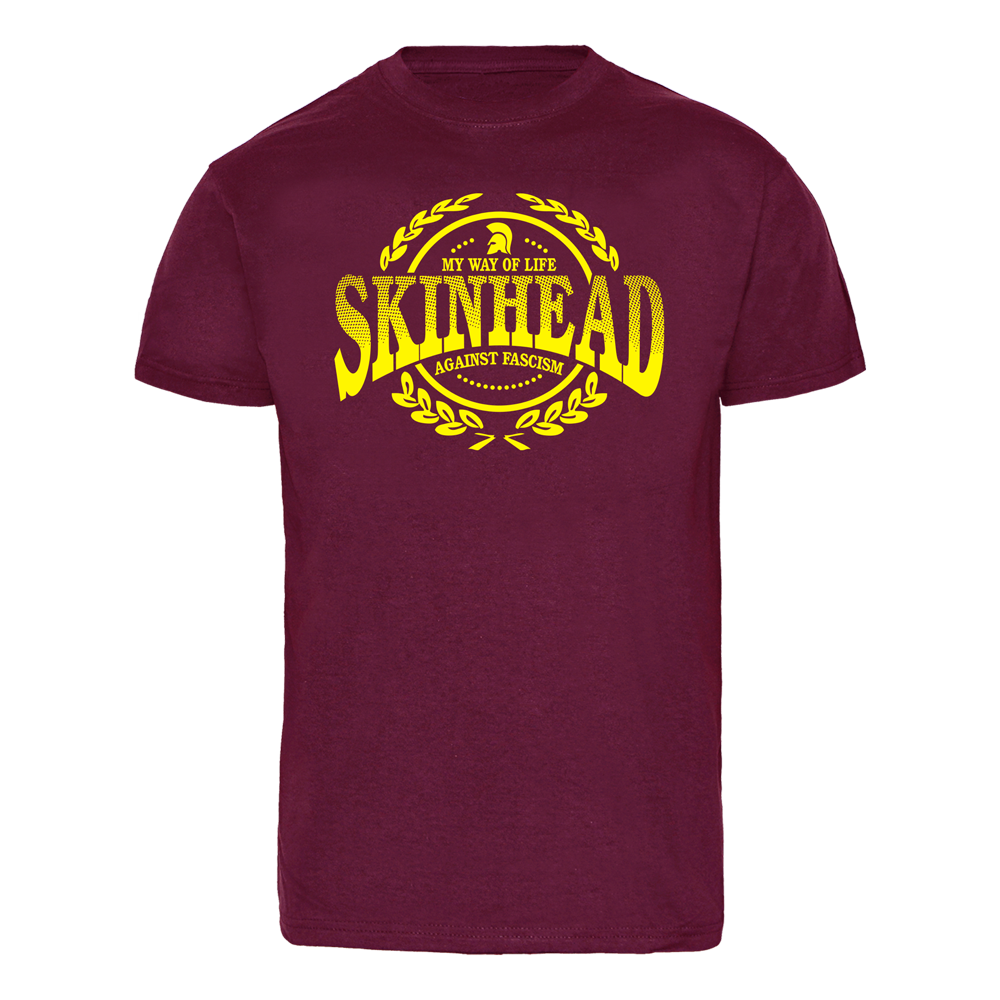 skinhead against fascism t shirt bordeaux order online spirit of the streets. Black Bedroom Furniture Sets. Home Design Ideas