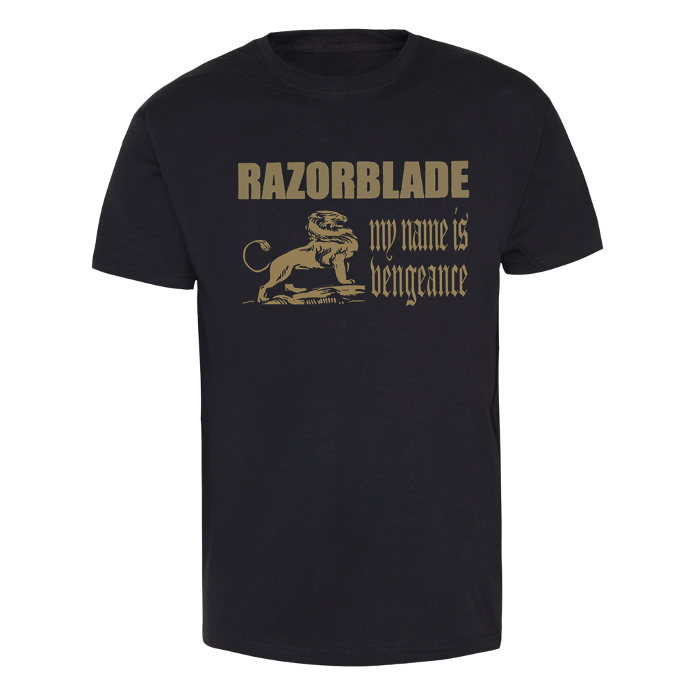 Razorblade my name is vengeance t shirt gold print for Name printed t shirts online
