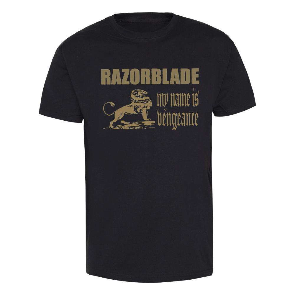 Razorblade my name is vengeance t shirt gold print for Print name on shirt