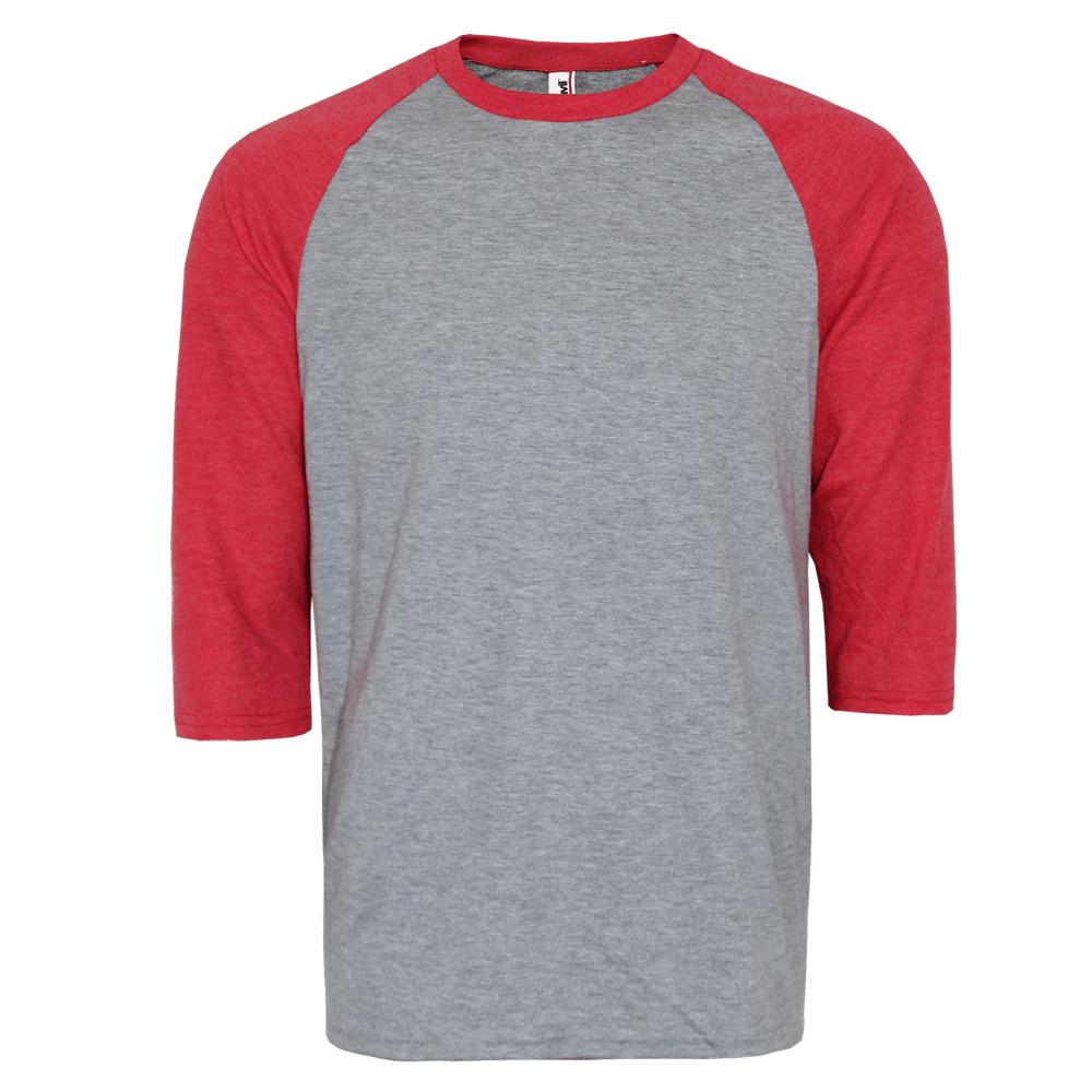 a463b392709 Anvil 3 4 Sleeve Raglan Shirt (grey red)