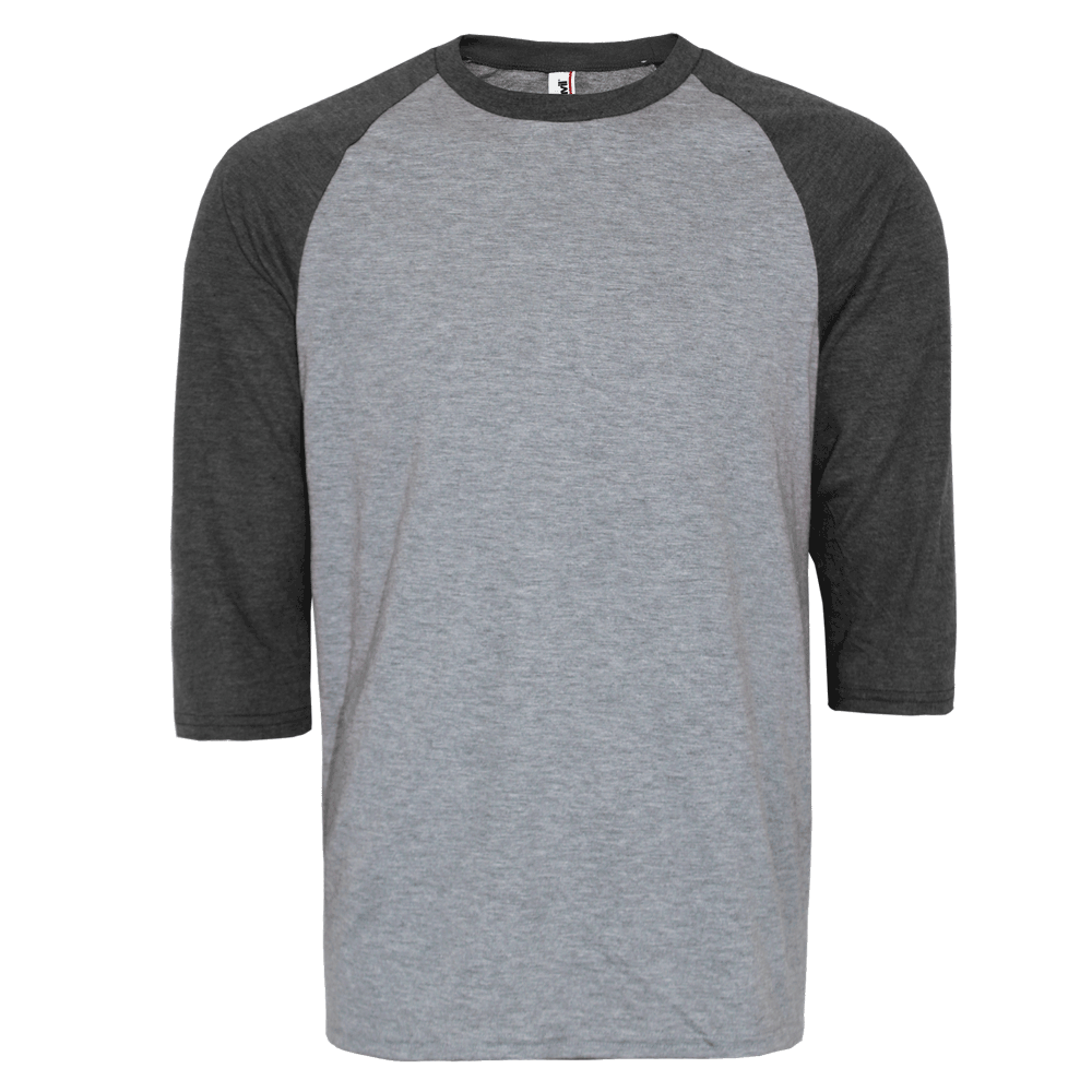 Anvil 3 4 sleeve raglan shirt grey darkgrey order for Where are anvil shirts made